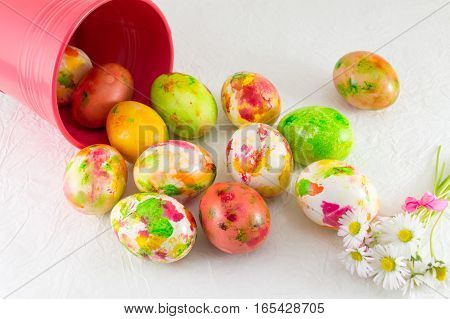 Painted Easter Eggs And Daisy Flowers