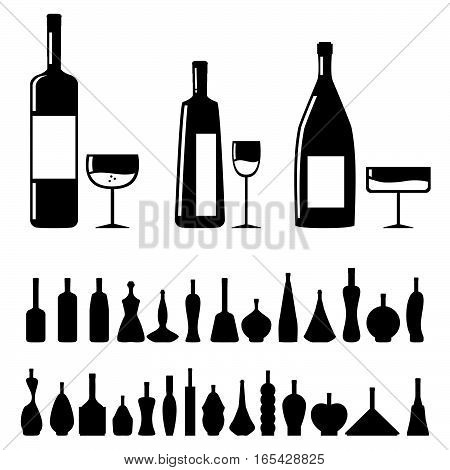 Bottle Set With Glass In Black Vector