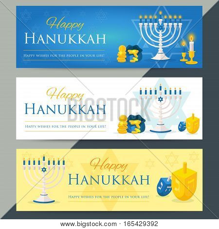 Holiday Of Hanukkah Web Banner Collection. Jewish Symbols For Celebration Of Chanukah Or Festival Of