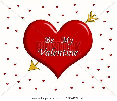Message Be My Valentine written on the big red heart with golden arrow and little red hearts around it