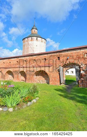 Wall of Kirillo-Belozersky monastery by day near City Kirillov Vologda region Russia.