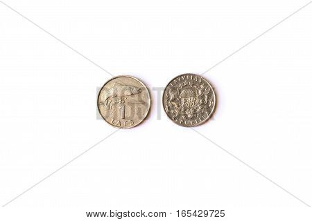 1 Lats coin - Latvijas republika coins denominations one Lats heads and tails. Symbol of Latvian currency to wealth and investment. Money of European Union