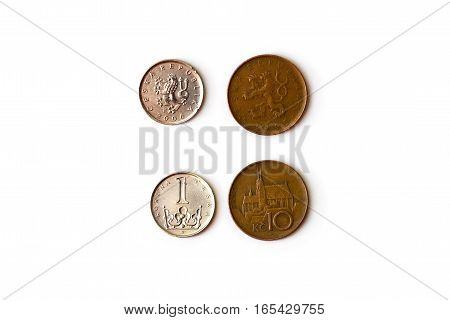 1 10 Czech crown coin CZK coins denominations one and ten koruna heads and tails. Symbol of Czech currency to wealth and investment. Money of European Union