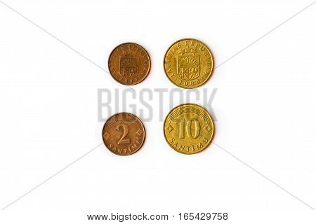 2 10 Santimu Latvian centime coins - Latvijas republika heads and tails. Symbol of Latvian currency to wealth and investment. Money of European Union