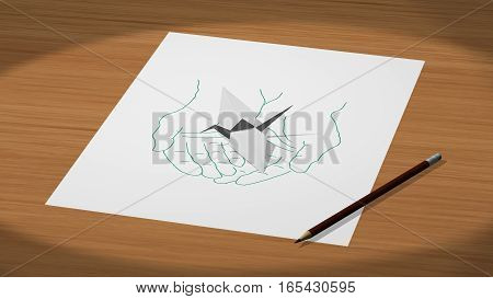 Drawn on a paper hands holding an origami crane 3d illustration render.