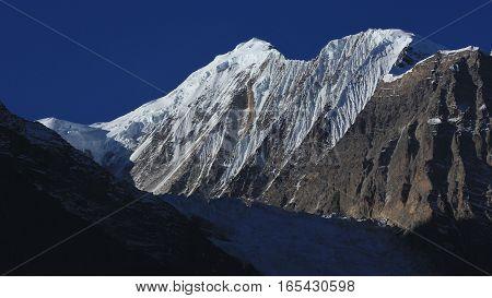 Mount Gangapurna. View from Manang. High mountain of the Annapurna range. Glacier.
