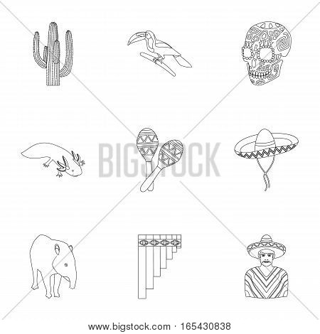 Mexico country set icons in outline design. Big collection of mexico country vector symbol stock illustration