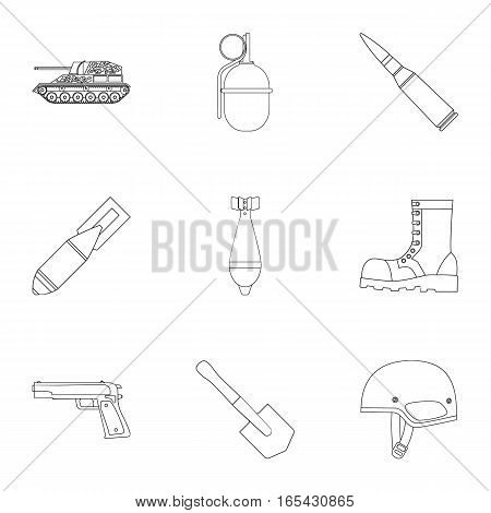 Military and army set icons in outline design. Big collection of military and army vector symbol stock illustration