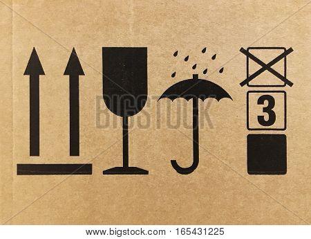 Signs On A Cardboard Box Side