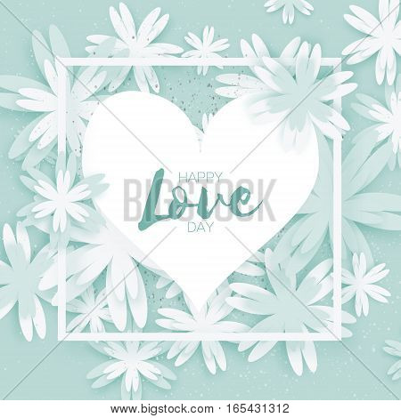 Happy Valentines Day Greeting card. Paper cut flower and heart frame label on pink background with place for text. Global Love romantic holiday. Vector floral weeding design illustration.