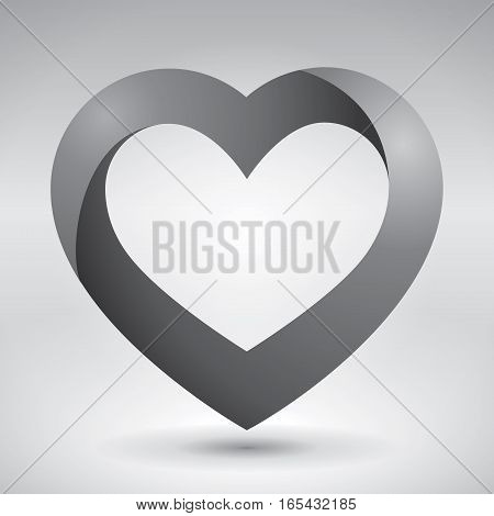 Volume heart, valentines day card, love image, vector design icon