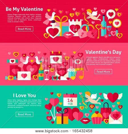 Happy Valentine Day Web Banners. Flat Style Vector Illustration for Website Header. Love Objects.
