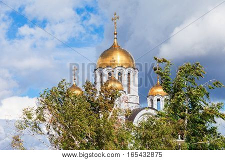 Russian orthodox church. Temple of the Martyr St. George in Samara Russia