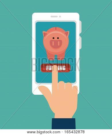 funding online with smartphone vector illustration design