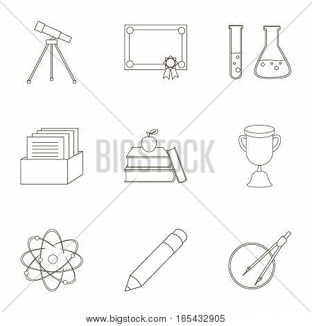 School set icons in outline style. Big collection of school vector symbol stock