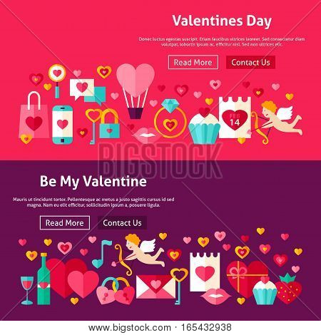 Happy Valentines Day Website Banners. Vector Illustration for Web Header. Love Modern Flat Design.
