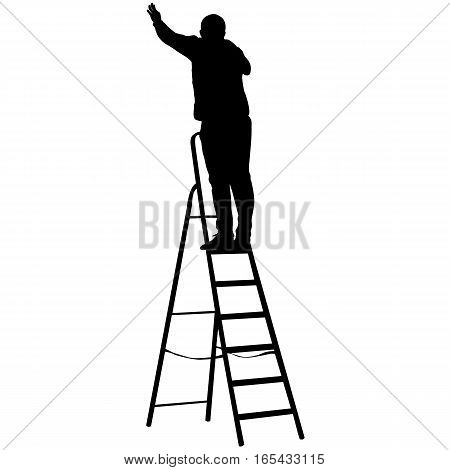 Silhouette worker climbing the ladder. Vector illustration.