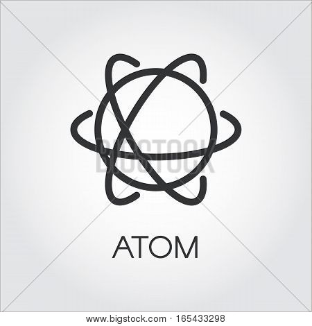 Simple black icon of atom. Chemistry, physics, science concept. Pixel perfect 48x48 px. Linear logo for websites, mobile apps and other design needs. Vector contour pictograph