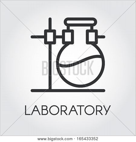 Laboratory icon. Chemistry and research concept. Pixel perfect 48x48 px. Sign drawn in outline style. Simple black line logo for different design needs. Vector contour pictograph