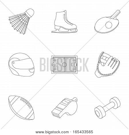 Sport and fitness set icons in outline style. Big collection of sport and fitness vector symbol stock