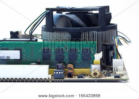 Computer motherboard isolated. Technology. DDR, cooler. white background