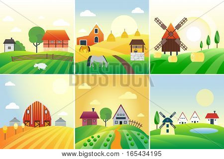 Farm agriculture banner rural landscape products old barn and field cartoon vector illustration. Organic scenery sky nature countryside harvest land.