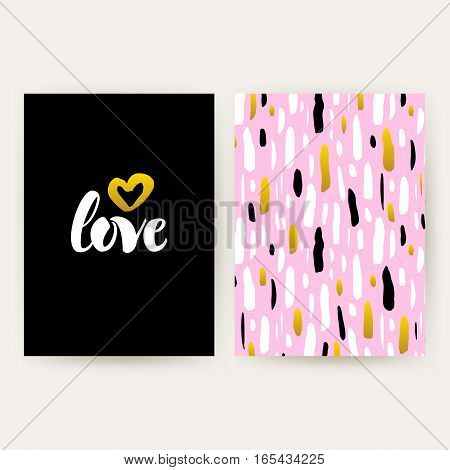 Love 80s Funky Style Posters. Vector Illustration of Trendy Pattern Design with Handwritten Lettering.
