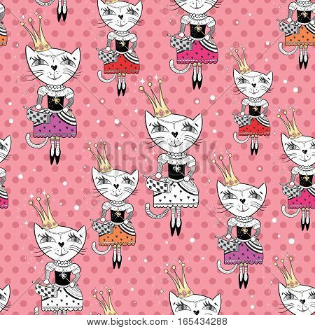 Cute royal girly texture with funny character on pink polka dot background for paper and textile design