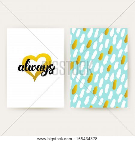 Love Always 80s Style Posters. Vector Illustration of Trendy Pattern Design with Handwritten Lettering.