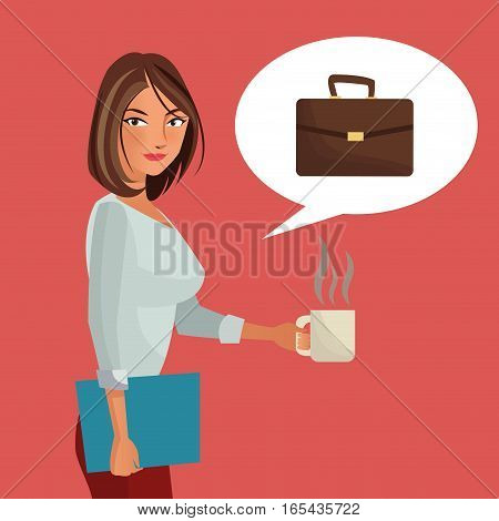 woman business office folder suitcase and cup coffee vector illustration eps 10