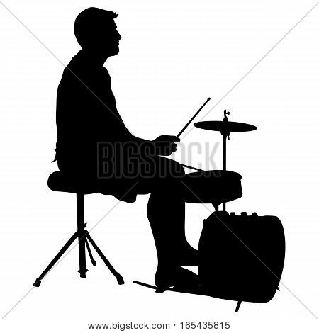 Silhouette musician drummer on white background, vector illustration.