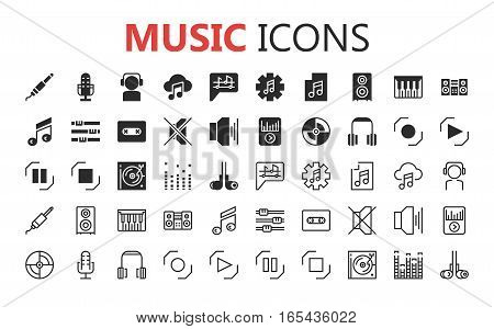 Simple modern set of music and audio thin line icons. Premium symbol collection. Vector illustration. Simple pictogram pack. Editable Stroke.