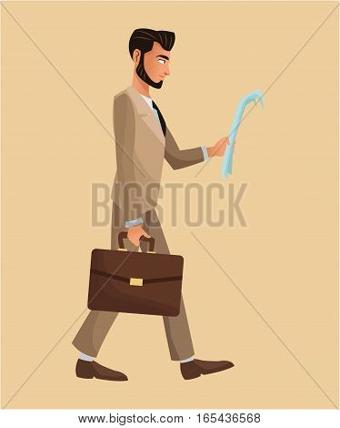 man walking newspaper portfolio elegant vector illustration eps 10