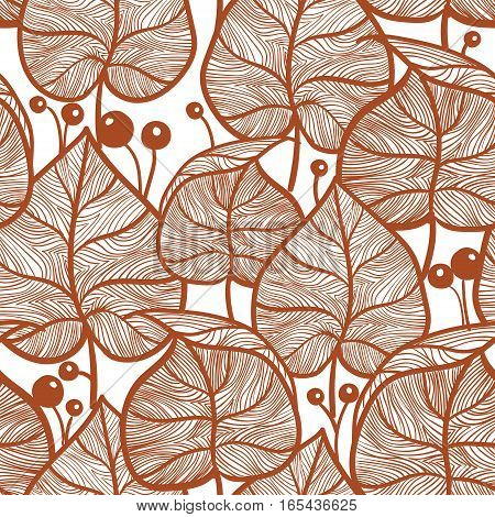 Leaves pattern. Seampless red leaf pattern. Hand drawn