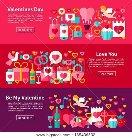 Valentines Day Web Horizontal Banners. Flat Style Vector Illustration for Website Header. Love Objects.