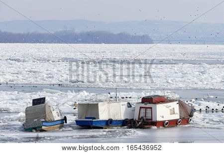 Belgrade, Serbia. January 16Th 2017: Trapped Boats Into The Frozen Danube River In Belgrade, Serbia
