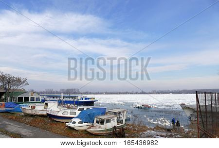 Belgrade, Serbia. January 16Th 2017: Frozen Danube River In Belgrade, Serbia