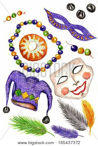 Raster watercolor vivid set of most recognizable elements of Mardi Gras as well as other carnivals. Holiday and entertainment, printed production, design element.