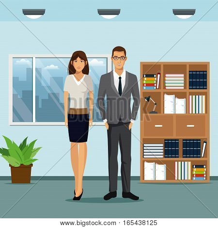 woman and man workspace office bookshelf plant pot window vector illustration