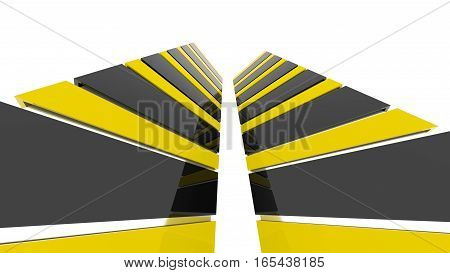 Futuristic black and yellow architecture background. Abstract architectural building of the future. 3D rendering.
