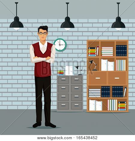 man crossed arms workspace furniture books cabient file clock lamp roof vector illustration eps 10