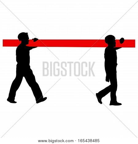 Silhouette of two construction workers carry pipe. Vector illustration.