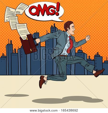 Pop Art Businessman with Briefcase Running to Work through the City. Vector illustration