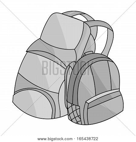 Pair of travel backpacks icon in monochrome design isolated on white background. Family holiday symbol stock vector illustration.