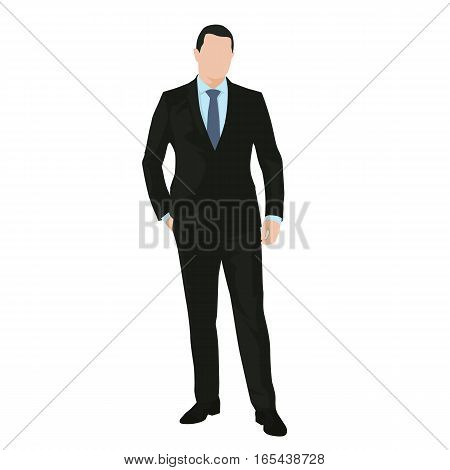 Business man standing in dark suit with hand in his pocket isolated vector drawing flat design icon