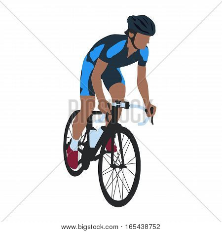 Road cyclist in blue jersey isolated vector illustration