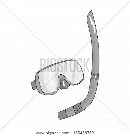 Mask and tube for diving icon in monochrome design isolated on white background. Family holiday symbol stock vector illustration.
