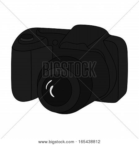 Digital camera icon in monochrome design isolated on white background. Family holiday symbol stock vector illustration.