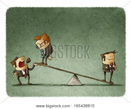 Businessman on scales outweighs other businessman with boss help.