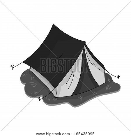 Yellow tent icon in monochrome design isolated on white background. Family holiday symbol stock vector illustration.